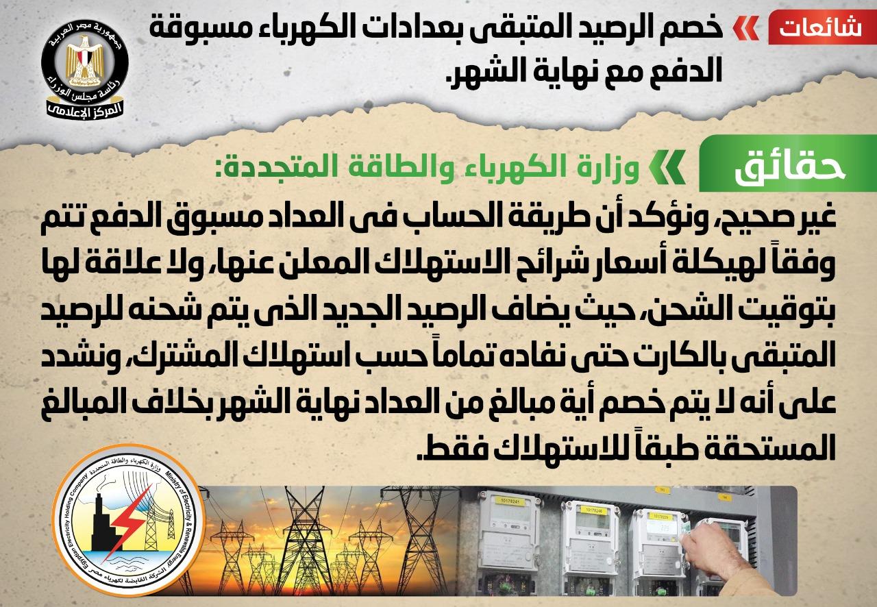 وزارة الكهرباء تنفى خصم الرصيد المتبقي بعدادات الكهرباء مسبوقة الدفع مع نهاية الشهر