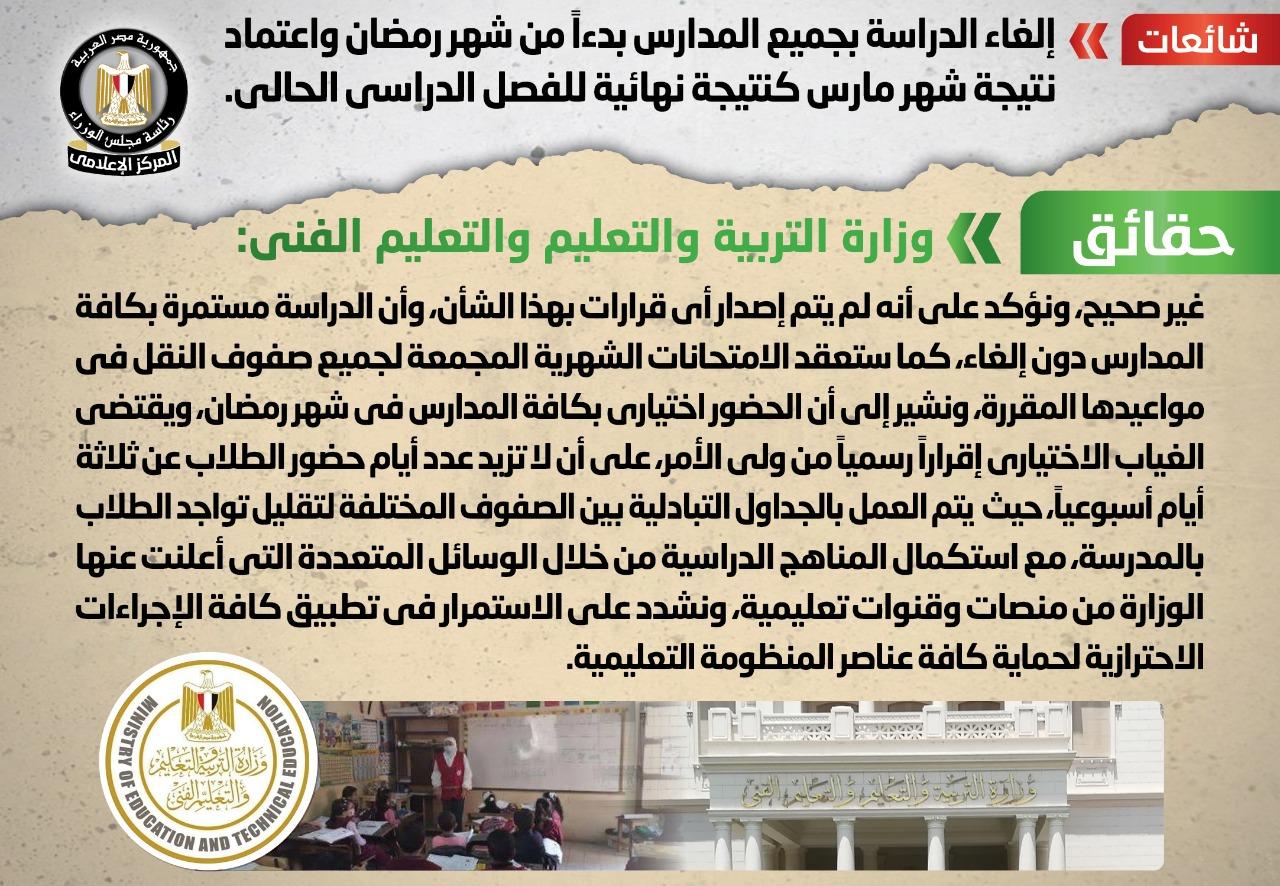 وزارة التعليم تنفى إلغاء الدراسة بجميع المدارس بدءاً من شهر رمضان واعتماد نتيجة شهر مارس كنتيجة نهائية للفصل الدراسي الحالي