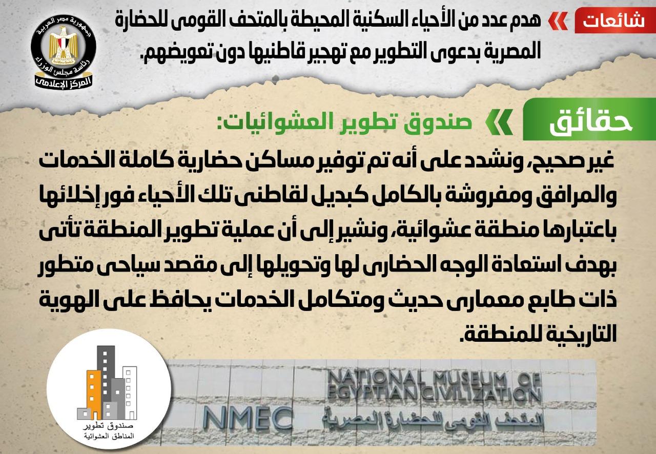 الحكومة تنفى هدم عدد من الأحياء السكنية المحيطة بالمتحف القومي للحضارة المصرية بدعوى التطوير مع تهجير قاطنيها دون تعويضهم