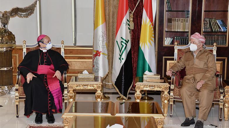 بارزاني لسفير الفاتيكان: التعصب الديني لا وجود له فى كردستان