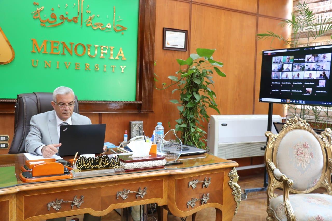 """رئيس جامعة المنوفية يشارك في فعاليات مؤتمر الجامعات العربية ودورها في مواجهة جائحة كورونا """"أون لاين"""""""