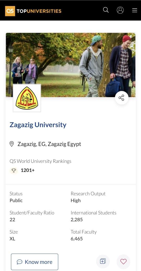 ظهور جامعة الزقازيق لأول مرة ضمن تصنيف QS World University Rankings