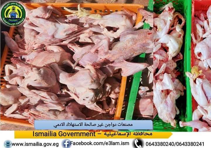 ضبط كميات من الدجاج و اللحوم ومصنعاتهم وأسماك مدخنه منتهية الصلاحية بالإسماعيلية
