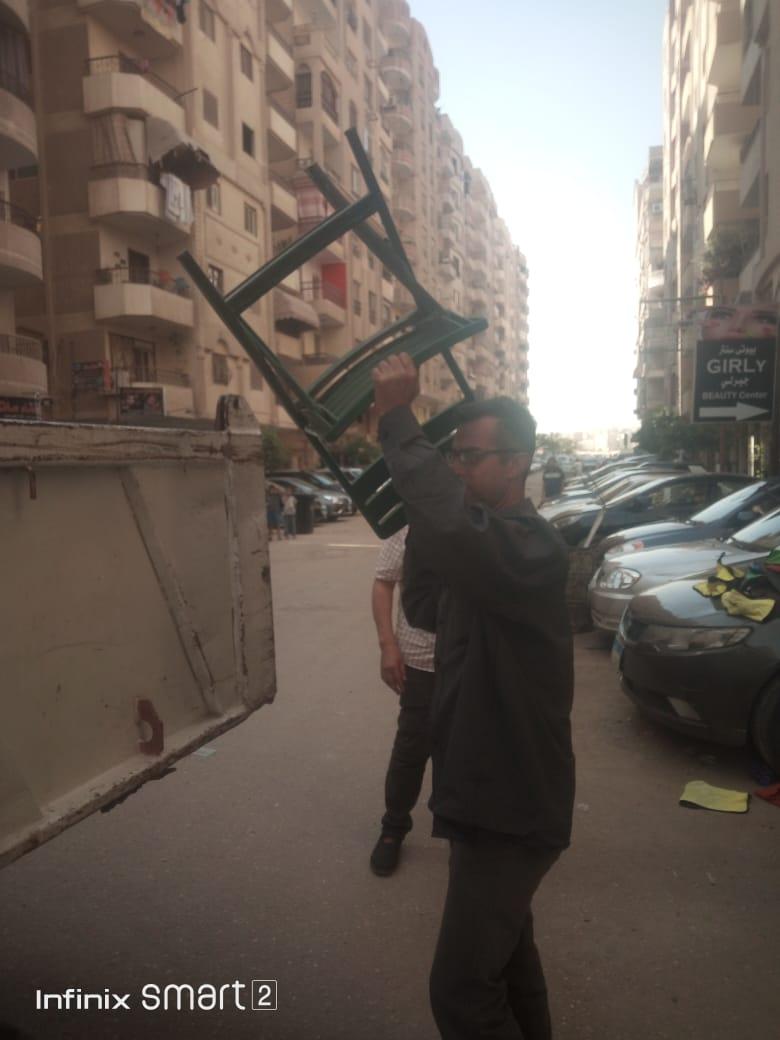 رفع اشغالات شارع الخمسين بزهراء المعادي