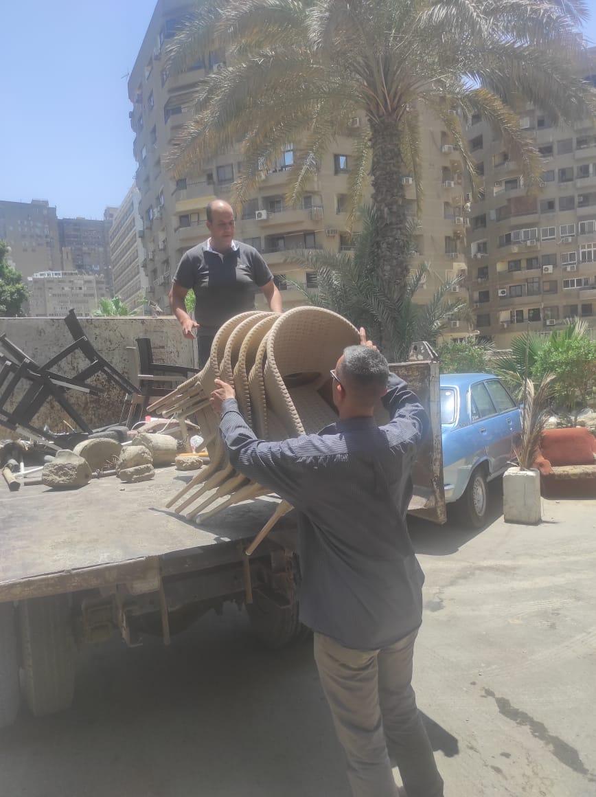 رفع الاشغالات بشارع  مصر حلوان الزراعى بالمعادى