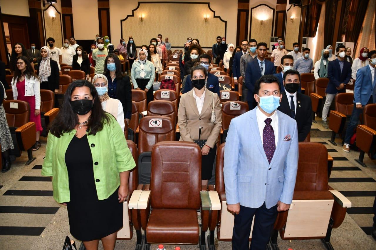 وزير الشباب ومستشارة الشئون العامة بالسفارة الأمريكية بالقاهرة يشهدان ختام البرنامج التدريبي Nation Builders