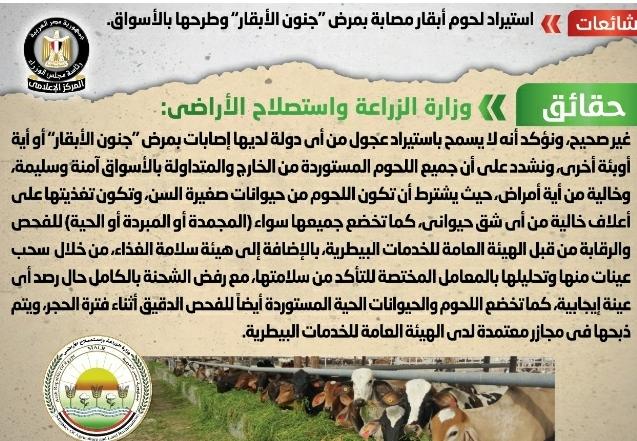 """وزارة الزراعة تنفى استيراد لحوم أبقار مصابة بمرض """"جنون الأبقار"""" وطرحها بالأسواق"""