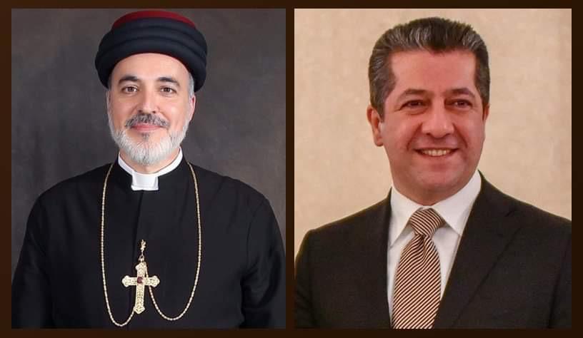 رئيس حكومة إقليم كردستان يهنئ بطريرك كنيسة المشرق الآشورية بمنصبه الجديد