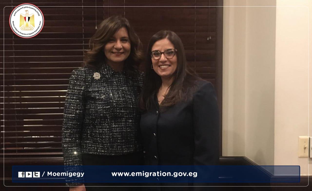 """وزيرة الهجرة تهنئ أول قاضية مصرية بالولايات المتحدة لفوزها بجائزة """"ماكلين"""