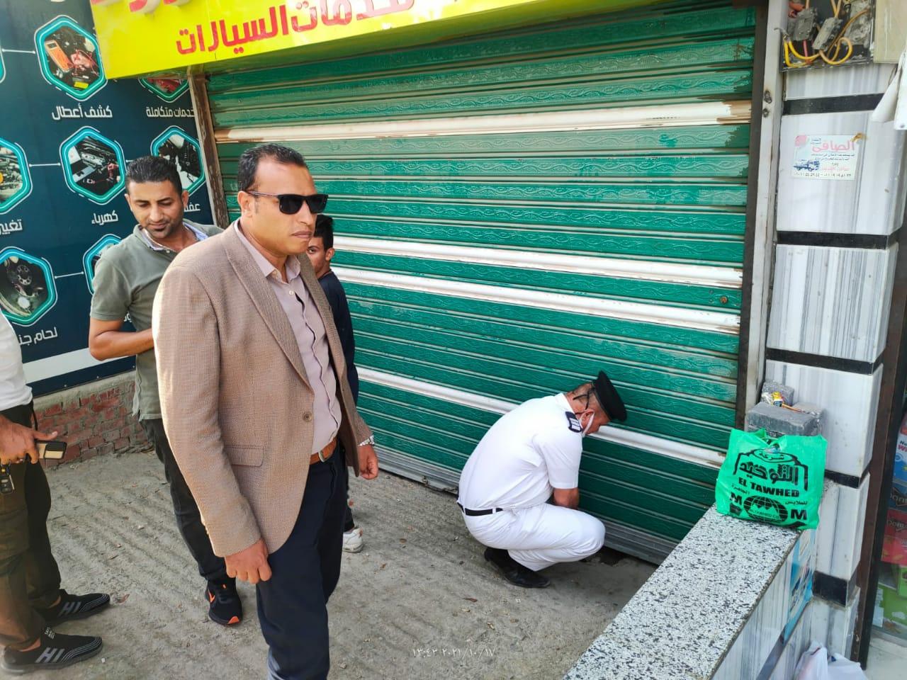 محافظة الجيزة: غلق وتشميع ٩٥محل مخالف بحدائق الاهرام